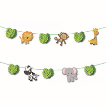 Jungle Animal Bunting Forest Safari Zoo Paper banner for kids Favors birthday party Decoration wild one Baby shower Supplies