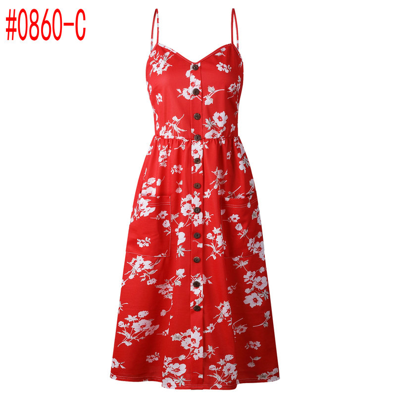 Summer Women Dress 2019 Vintage Sexy Bohemian Floral Tunic Beach Dress Sundress Pocket Red White Dress Striped Female Brand Ali9 4