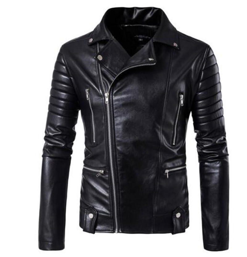 New Retro Vintage Motorcycle Jackets PU Leather Men Slash Zipper Moto Jackets Lapel Biker Faux Leather