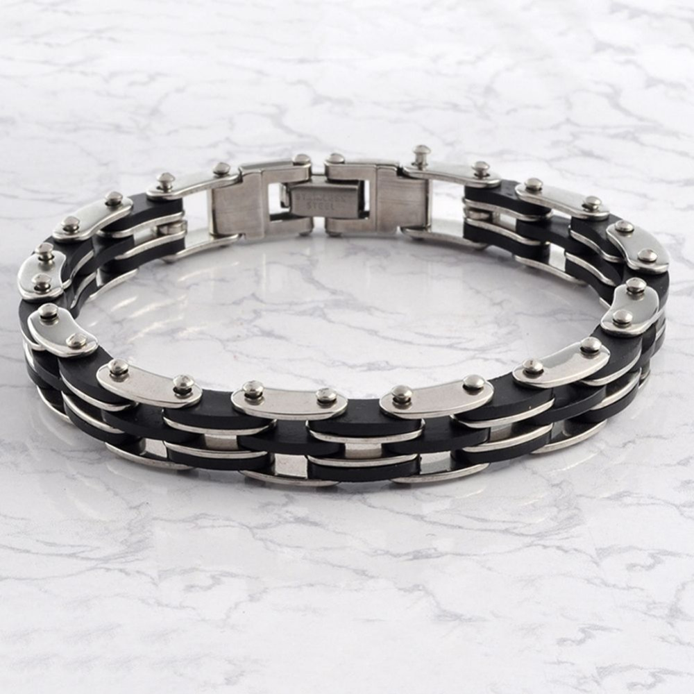 Mens Black Rubber Stainless Steel Bracelet Silver Plain Id Cuff  Bangle(china (mainland)