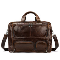 Для мужчин Натуральная кожаный портфель Для Мужчин's Бизнес сумка для ноутбука 16 дюймов мужской сумка повседневная сумка, сумки через плечо