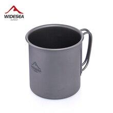 Widesea Сверхлегкая титановая чашка для кемпинга пикника, чашка для воды со складной ручкой, 300 мл