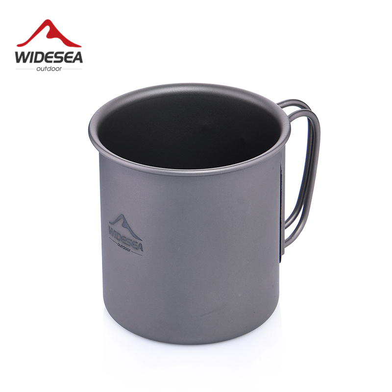 Widesea Ultralight Titanium Cup Outdoor Camping Picnic Water Cup Mug with Foldable Handle 300ml(China)
