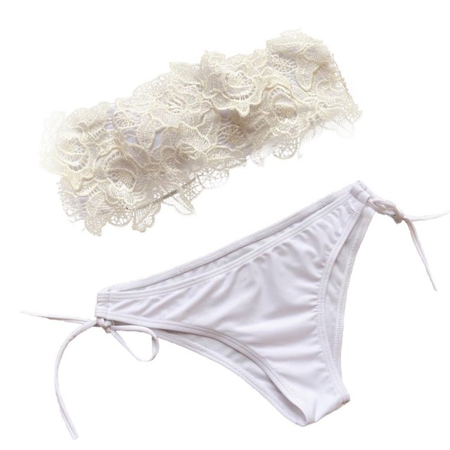 White tube top lace flower split swimsuit  2 piece set women swimming suit Solid color strap flowers beach swimwear Y-NEW