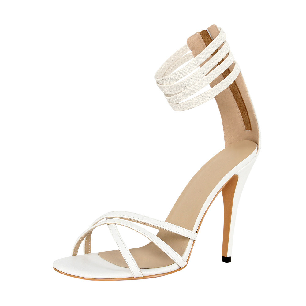 6cb8ad164f Hot selling concise quadruple white thin strap ankle wrap high heel sandals  cross strap embellished stiletto heel sandals-in Women's Sandals from Shoes  on ...