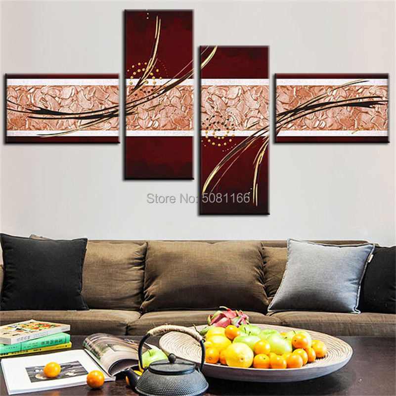 Peint à la main modulaire peinture à l'huile brun toile texturé 4 panneau mur Art décor à la maison moderne abstrait image ensemble Art