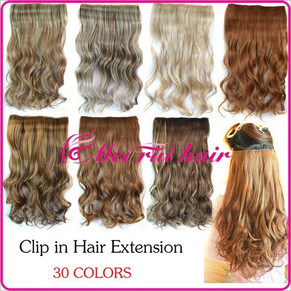 """30 Different Colors In Stocks 120g/pc 50cm Length 20"""" Women Clip In Hair Extension Girls Curly Hair Extensions Hair Pieces 1PC"""