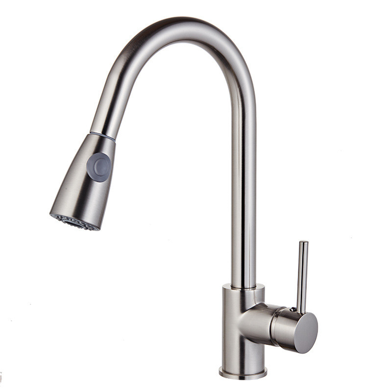 Nickel Kitchen Faucets Silver Single Handle Pull Out Kitchen Tap Single Hole Handle Swivel 360 Degree