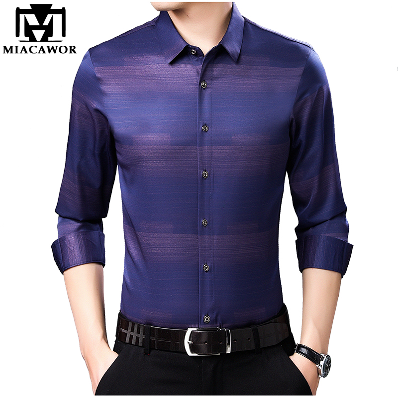 MIACAWOR 2019 New Italian Design Striped Shirts Men High Quality Slim Fit Social Shirt Long Sleeve Camisa Masculina C453