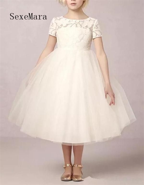 Ivory Puffy Tulle Girls Birthday Dresses Open Back Lace Flower Girls Dresses for Wedding Girls Pageant Dress Size 2 4 6 8 10 spaghetti strap chiffon open back dress