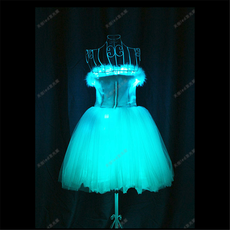 TC-169 Programmable luminous light led costume Ballet skirt ballroom dance dress women stage cloth full color bar catwalk wears