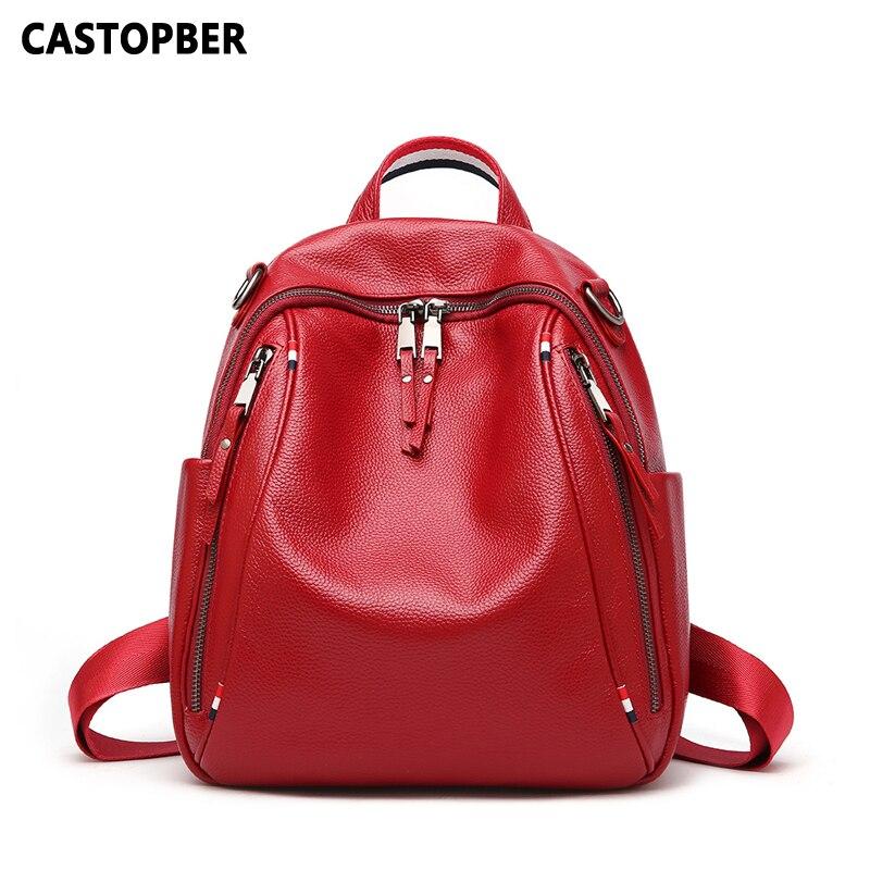 Designer แฟชั่นผู้หญิงกระเป๋าเป้สะพายหลังกระเป๋าผู้หญิงเกาหลีหนังวัวแท้คู่ซิปกระเป๋าเป้สะพายหลังหญิงสำหรับโรงเรียนหญิง-ใน กระเป๋าเป้ จาก สัมภาระและกระเป๋า บน   1