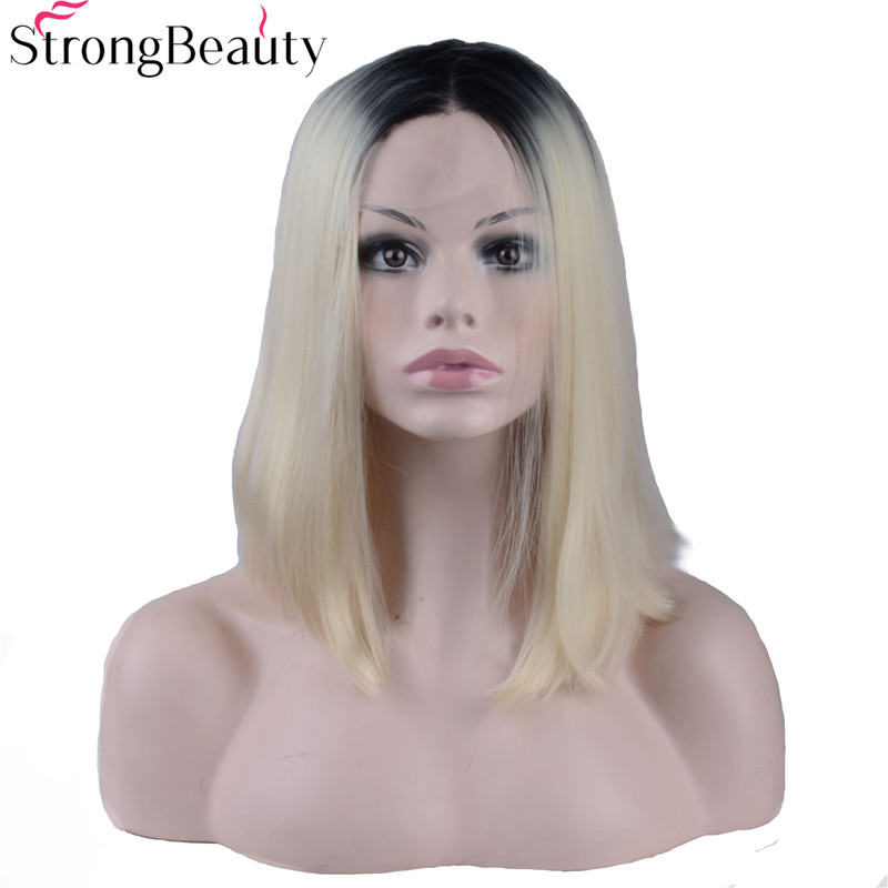 Strongbeauty Short Bob Straight Wigs Synthetic Lace Front Ombre Blond/Sliver/Brown Heat Resistant Wig