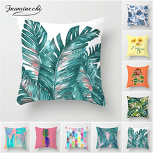 Fuwatacchi Tropical Rainforest Cushion Cover Leaf Flowers Pillow For Home Sofa Chair Plant Fruit Decorative Pillows