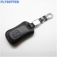 FLYBETTER Auto Lederen Afstandsbediening Auto Sleutelhanger Klep Case Voor Toyota Prado/Crown/Camry 2 Knoppen Smart Key L1769