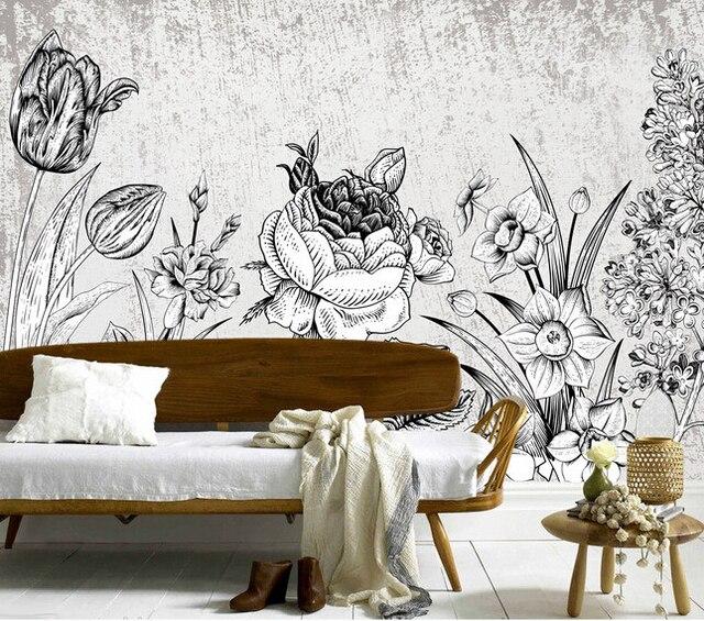 Moderne minimalistische pastorale stijl tekening bloemen papel de ...