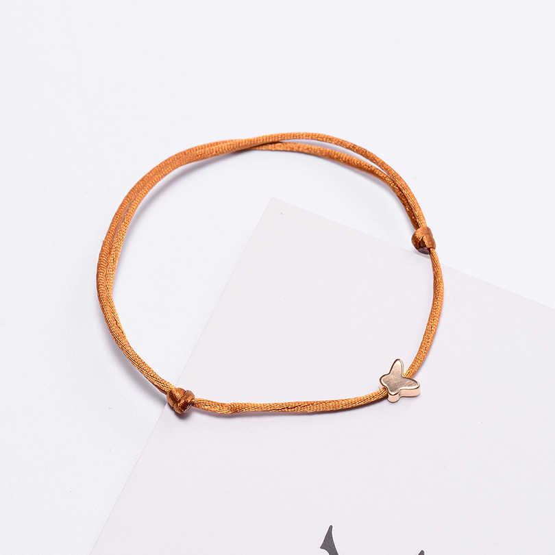 VEKNO 調節可能な蝶赤糸ブレスレット赤ロープ文字列編組ハンドメイドマッチングカップルのブレスレット男性子供