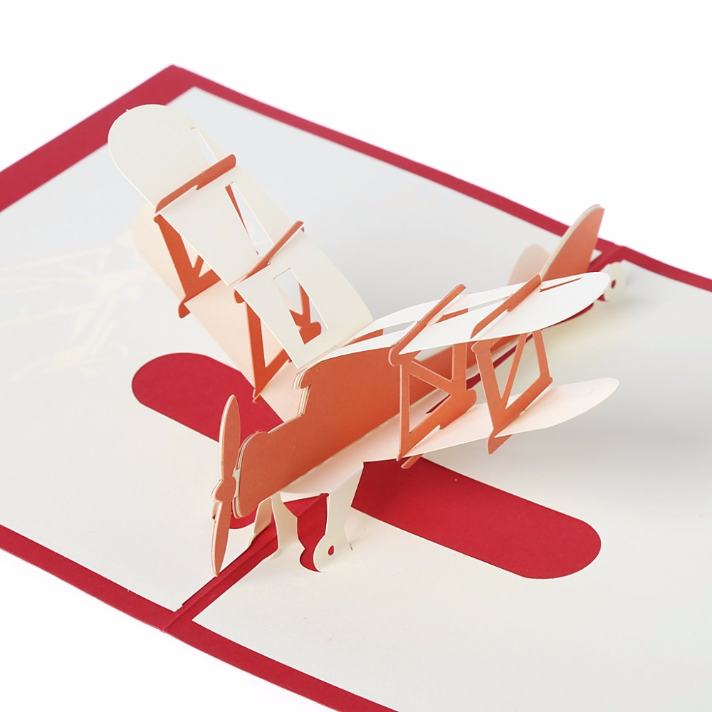 Greeting Cards 3D Laser Cut Holiday Greeting Cards Paper Airplane ...