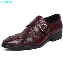2019 Men Dress Shoes Quality Men Monk Strap Shoes Oxford Lace-up Crocodile Pattern Formal Genuine Leather Wedding Shoe