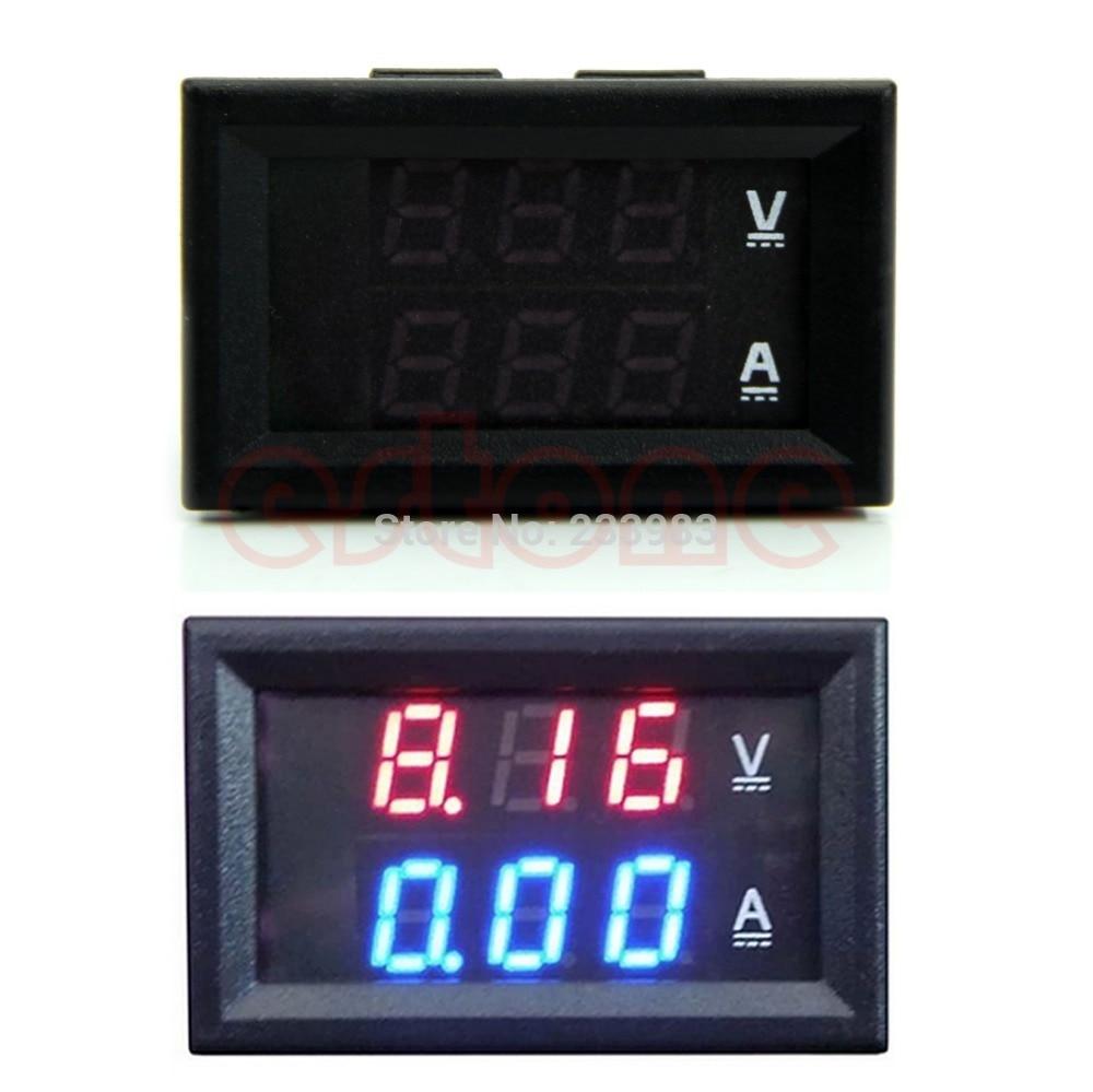 DC 100V 10A voltímetro amperímetro azul + rojo LED Amp doble digital medidor de voltímetro # L057 # nuevo caliente