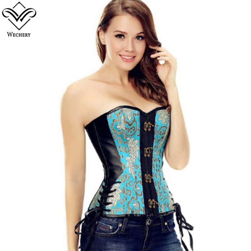 Wechery   Corset   Steampunk   Corsets   and   Bustiers   Gothic Sexy Stripe Corsete Overbust Waist Trainer Straps Corselet for Women