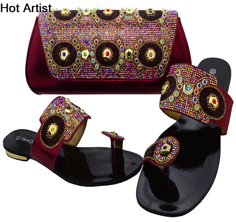 Hot Artist African Elegant Shoes And Purse Set Italian Style Slipper Shoes And Bag Set For Party Wholesale Cheap BCH-37  hot artist african style slipper shoes and matching bag set fashion rhinestone ladies pumps shoes and bag set for party me7708