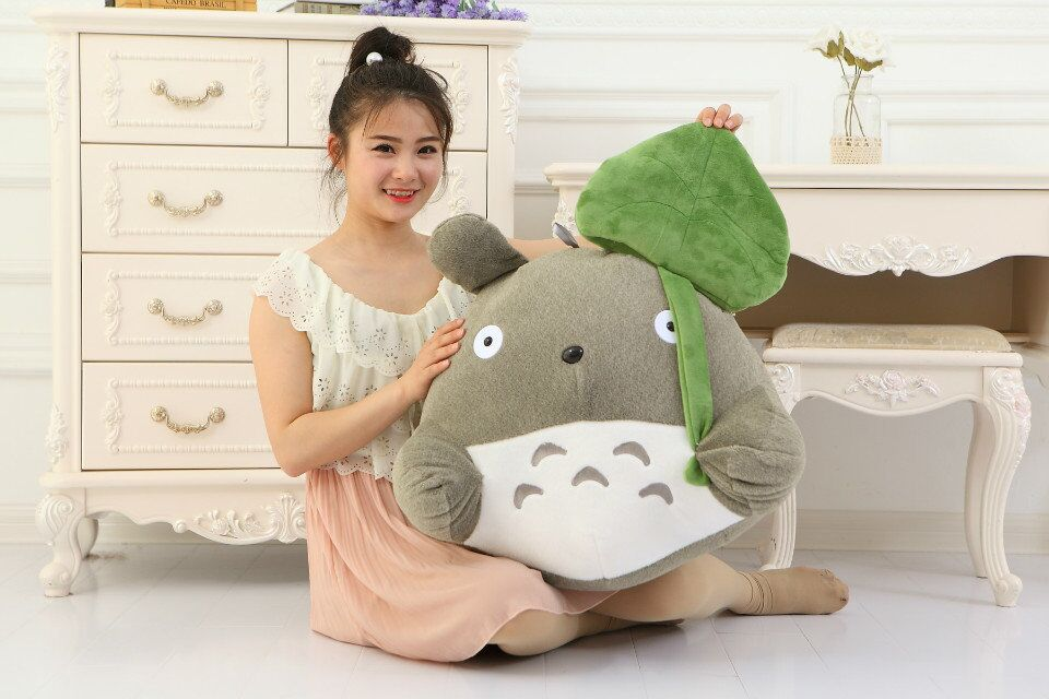 big plush Totoro toy Lotus lovely leaf  totoro doll classic expression totoro doll gift about 55cm the huge lovely hippo toy plush doll cartoon hippo doll gift toy about 160cm pink