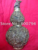 Rare Stunning Qing Dynasty Copper Dragon Gourd Flag