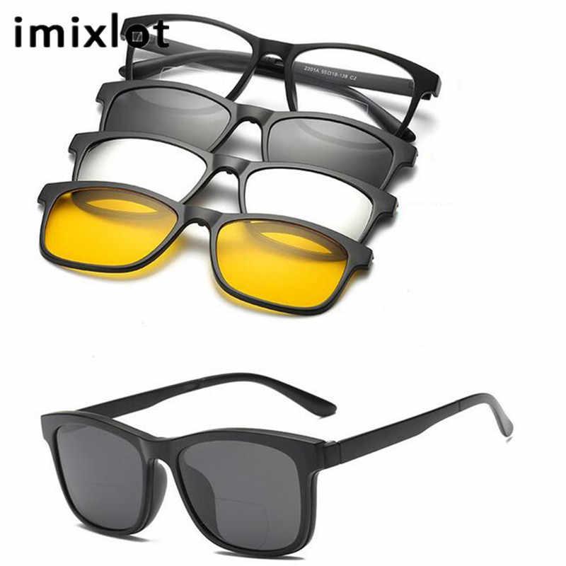 c2c43702b3f IMIXLOT 1 Set Men Polarized Magnetic Clip Glasses TR Male Driving Clip On Sunglasses  Magnet Casual