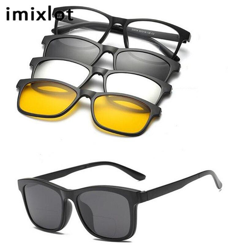 IMIXLOT 1 Set Hommes Polarisées Magnétique Clip Lunettes TR Mâle Conduite Clip Sur lunettes de Soleil Aimant Myopie Occasionnel