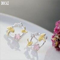 Real 925 solid sterling silver woman's earrings ginkgo leaf silver earrings inlaid powder opal small earrings