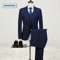 Новый Темно синий клетчатый мужской костюм Slim Fit Классические свадебные костюмы для мужчин квадратный узор Выпускной деловой смокинг на за