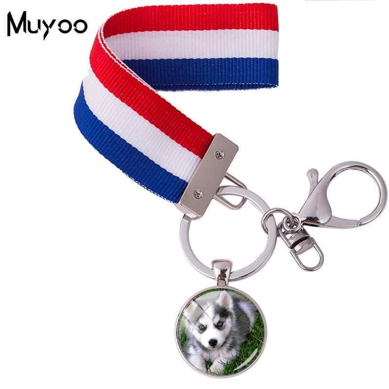 2018 חדש עיצוב האסקי כלב Keychain צבעוני סרט Keyrings זכוכית מותאם אישית כלב תמונה מפתח שרשרות רסיס תכשיטי עבור מתנות