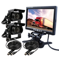 "FREE SHIPPING 12V - 24V 7"" Color LCD Car Monitor 2 Channel Video View 2 IP67 Night Vision Rear View Camera for Bus Van Truck"