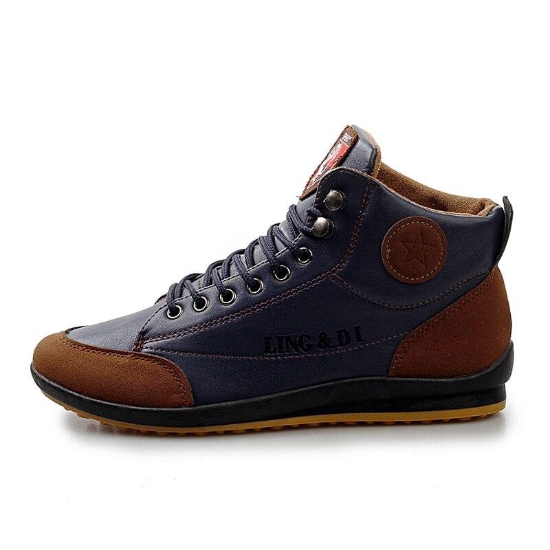 New 2018 Men Leather Boots Fashion Autumn Winter Men Warm Cotton Brand Ankle Boots Lace Up Men Shoes Footwear Size 39-44 стоимость