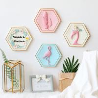 Ins Lovely Wall Decor Pink Flamingo Modern 3D wall hanging Resin stickers Living Room Pendant Bedroom Home Decor Wedding gifts