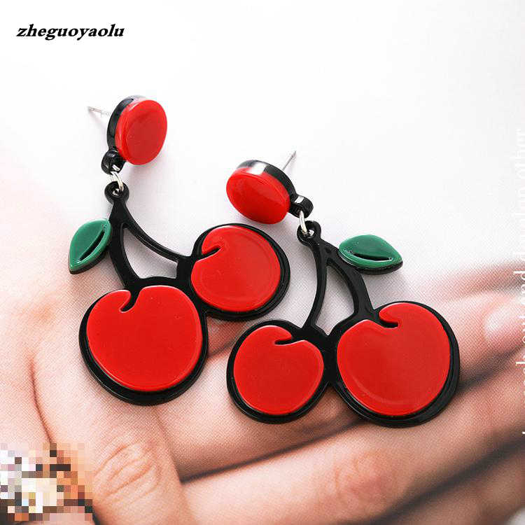 2018 New Personality Simple Wild Fashion Cute Fruit Cherry Earrings Multiple Style Earrings Boucles D'oreilles Pour Les Femmes