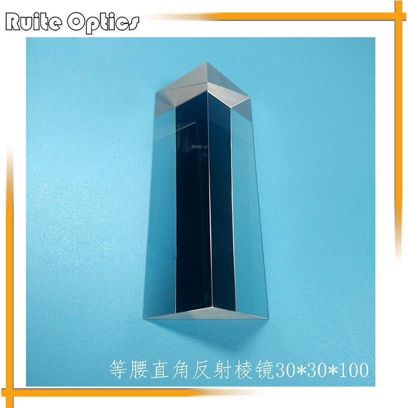 30x30x100mm K9 verre optique triangulaire Angle droit réfléchissant prisme optique Instruments d'expérience