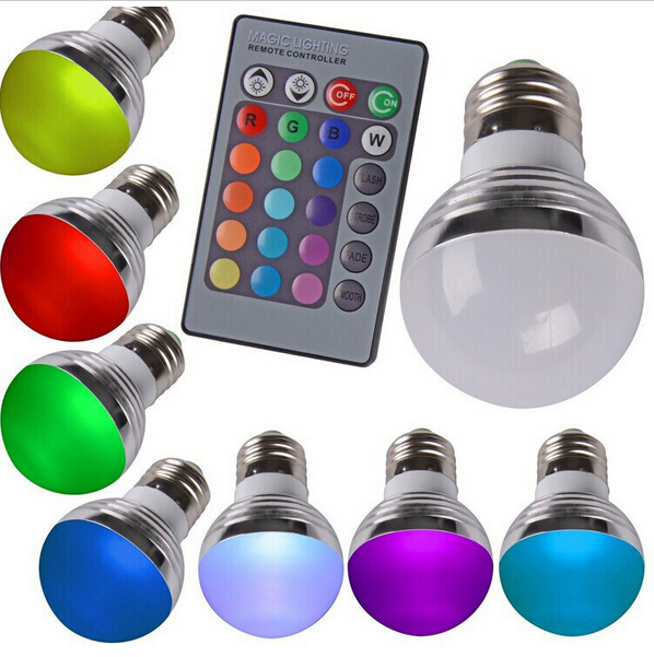 2016 RGB LED Bulb E27 E14 3W LED Lamp Light Led Spotlight Spot light 16 Color Change Dimmable Lampada 110v 220v 24Keys