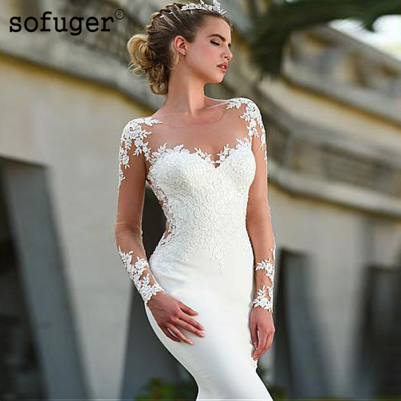 Long White Scoop Mermaid Custom Made Sexy See Through Long Sleeve Boho Wedding Dress Gown Sofuge Vestido De Noiva Dubai Arabic
