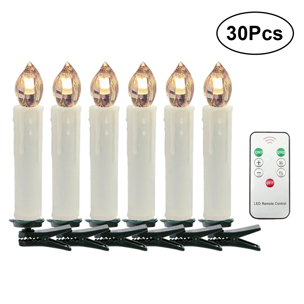 30pcs LED Candle Light 6-Key Wireless Remote Control Decorative Light for Christmas Weddding (Warm White) classical pavilion shape decorative candle holder without candle