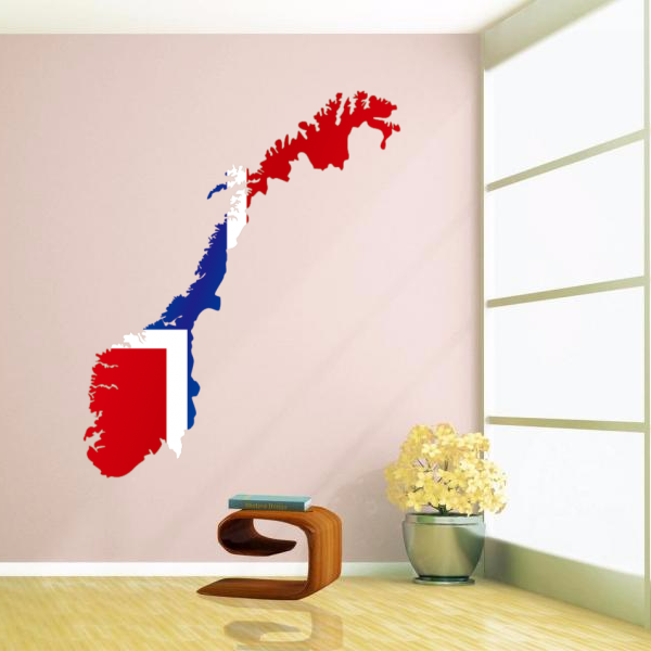 Flag map of norway wall vinyl sticker custom home decor glass decals wedding plastic wallpaper creative poster in wall stickers from home garden on