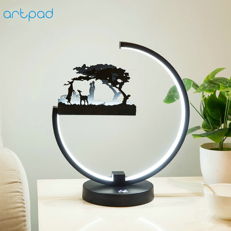 ArtPad DC12V Plug in Bedroom Bedside Table Lamp Dimmer Touch Switch Black White Nordic Modern Study Decorative Desk Lamp Light