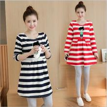 Maternity Dresses 2016 New Autumn Fashion Cute Wild Cartoon Loose Plus Size Dress Women Clothes for Pregnant Pregnancy Clothing