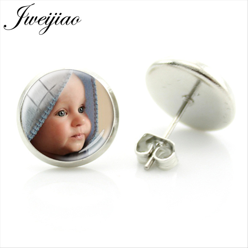 JWEIJIAO Personalized Customized Stud Earrings Custom Picture Photo Logo Glass Dome Round Earring Friend Wedding Gift NA01(China)