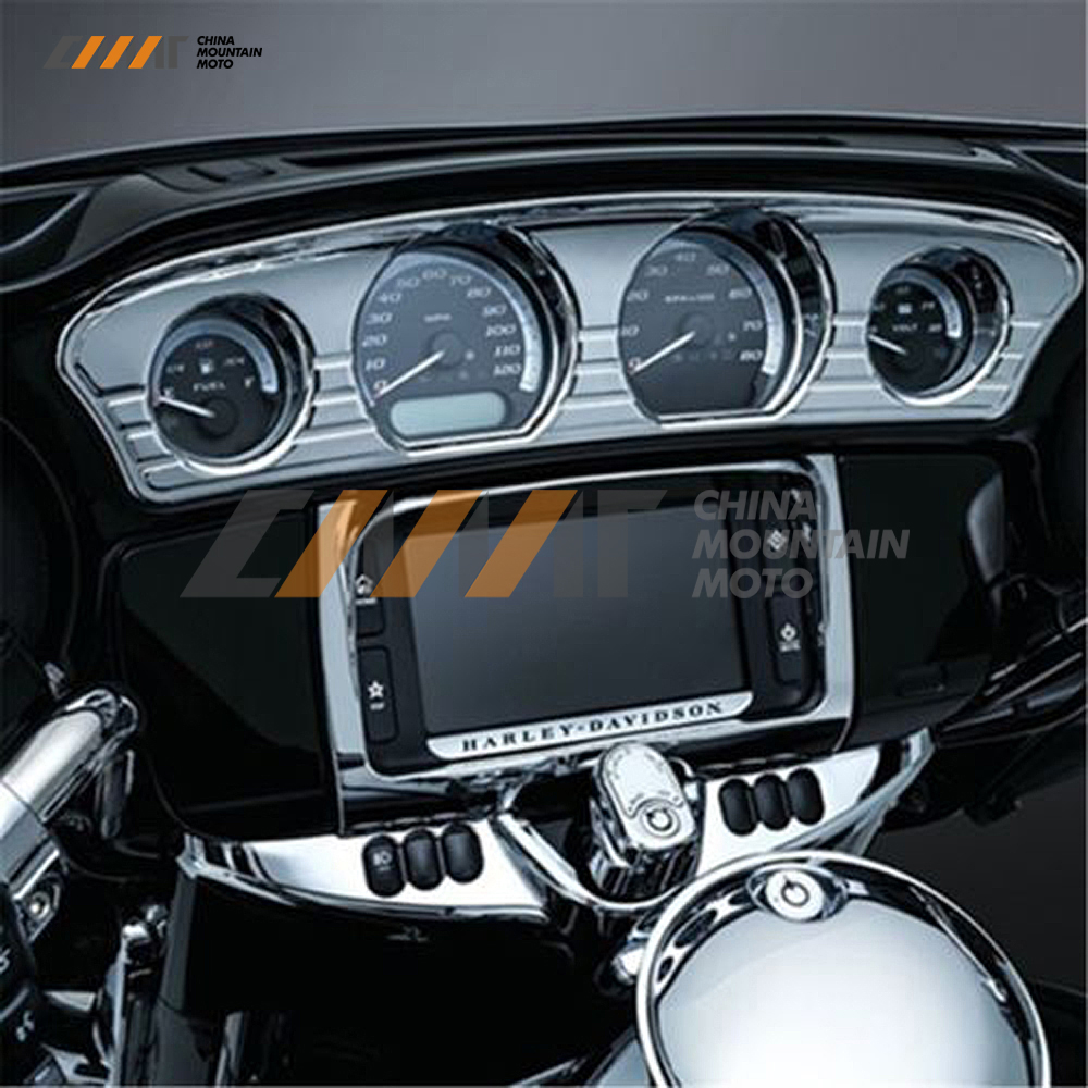 Tri-Line Gauge Trim Cover case for Harley Touring Electra Street Glide Trike 2014-17