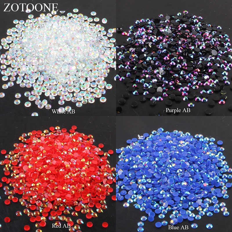 ZOTOONE, diamantes de imitación de 2 a 6mm, 1000 Uds., diamantes de imitación de cristal claro AB sin adhesivo, diamantes de imitación de reverso plano para decoración de ropa, teléfono móvil DIY