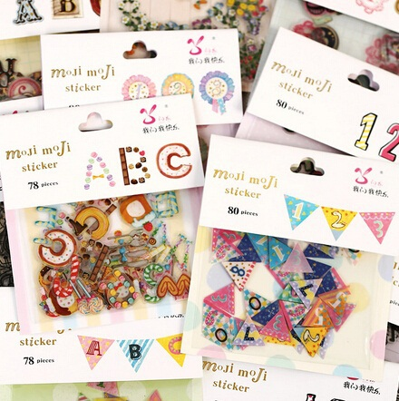 78-80pcs/lot Color Digital Alphabet Sticker Pack Bag Hot Selling Decoration Packing Stickers Kawaii Sticker