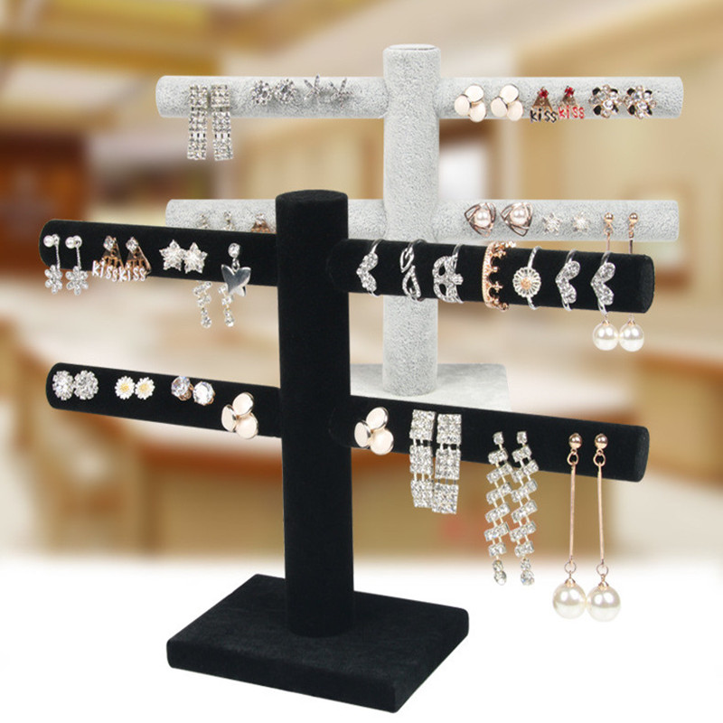 Velvet Earrings Ring Organizer Ear Studs Jewelry Display Stand Holder Rack Showcase 2 Colors Black / Gray
