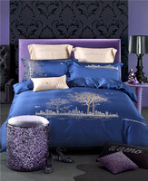 4 7pcs Luxury Egyptian Cotton Bedding Sets Blue Beige Tree Birds Soft Linens Queen King